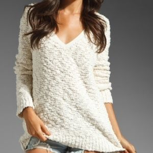 Free People Boucle Cream Knit Sweater